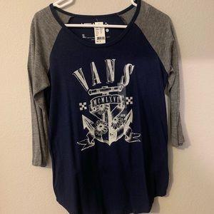 Navy blue/grey Vans baseball tee